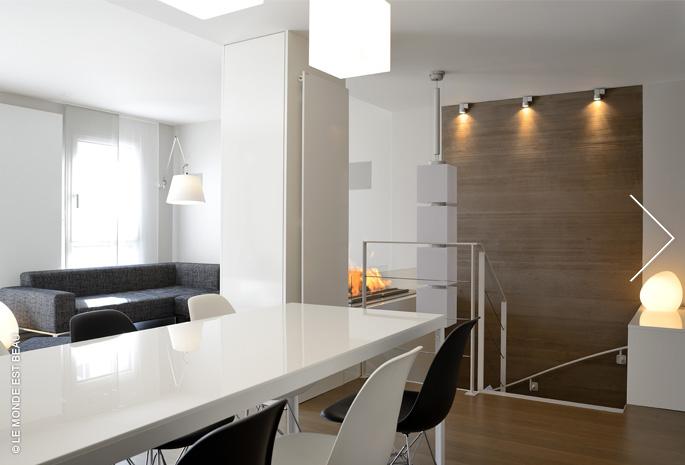 Appartement, enduit minéral à la chaux, Collection M/I, agence Volume et architecture, Lyon 2012