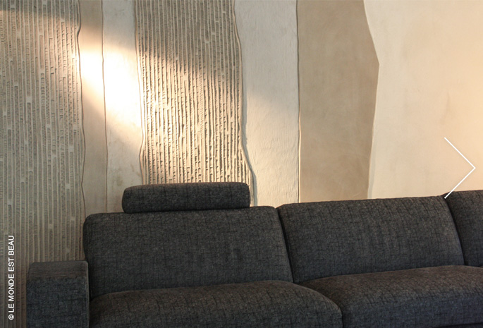 Juxtaposition de différents enduits minéraux, Collection M/II, agence Dédale, Lyon 2010