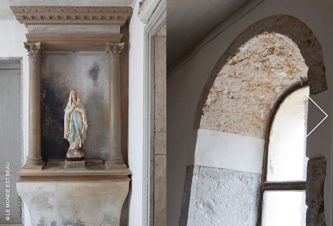 Enduits traditionnels à la chaux et badigeons polychromes, chapelle privée, Lyon, 2012