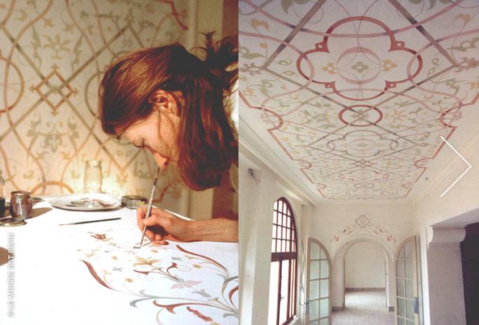 Mise en valeur des plafonds par ornements et patine, glacis traditionnels, Rhône-Alpes, 1999