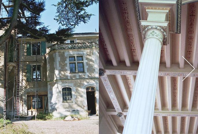 Mise en valeur des plafonds par ornements et patine, glacis traditionnels, Rhône-Alpes,1999