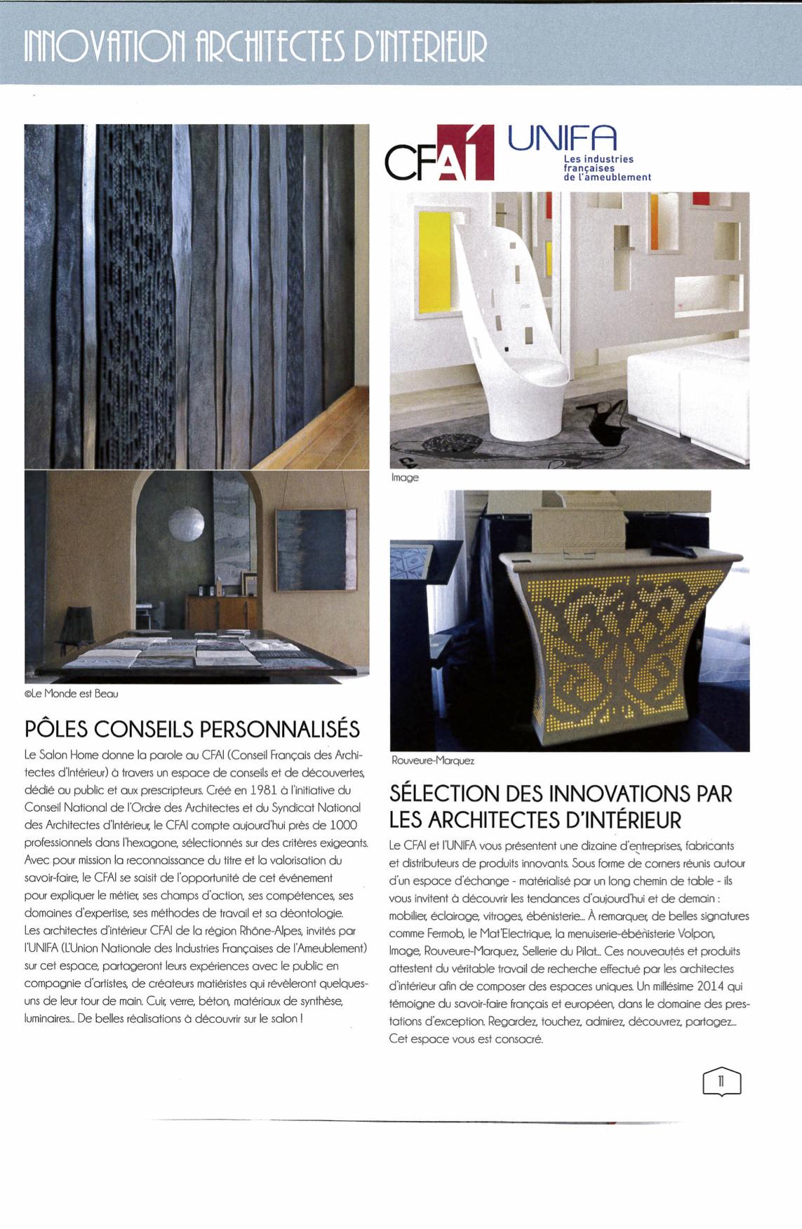 Architecte D Intérieur Cfai salon home – pôle architecte d'interieur   le monde est beau